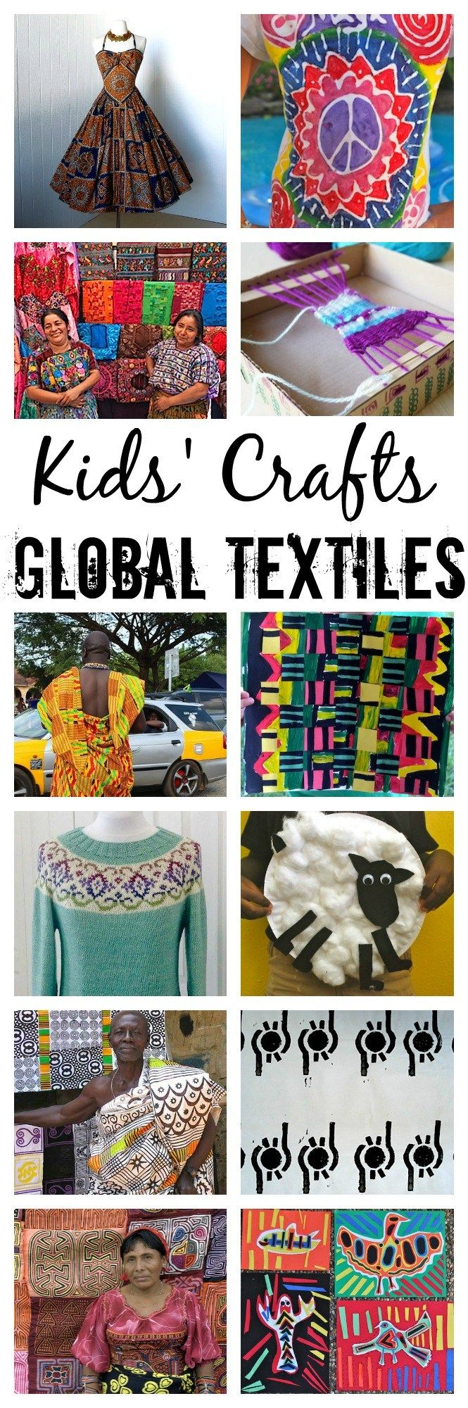Global Textiles: learn about beautiful fabrics from around the world, and then make an inspired, colorful, multicultural craft!