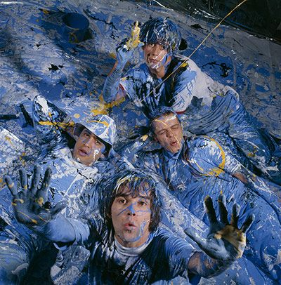 The Stone Roses photographed in Manchester for the cover of the NME in 1989 Photograph: Kevin Cummins/Getty Images