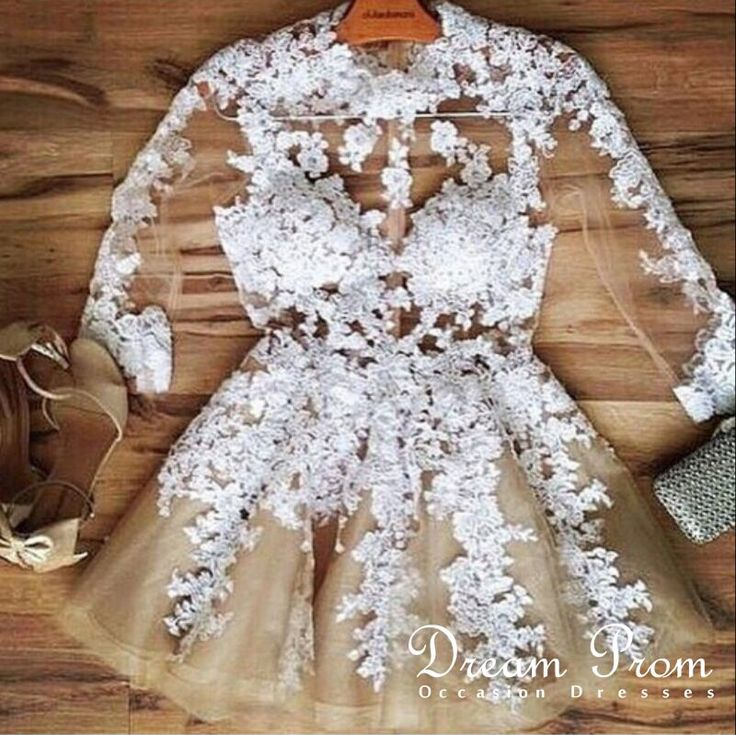 White A-line Lace See-through Long Sleeve Short Prom Dress,Homecoming Dress,Party Dress