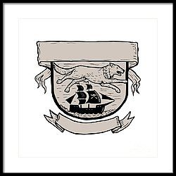 Wolf Running Over Pirate Ship Crest Scratchboard  Framed Print by Aloysius Patrimonio