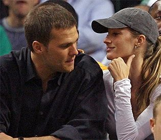 Gisele Bundchen and Tom Brady at a 2007 Celtics Playoff Game in the TD Garden
