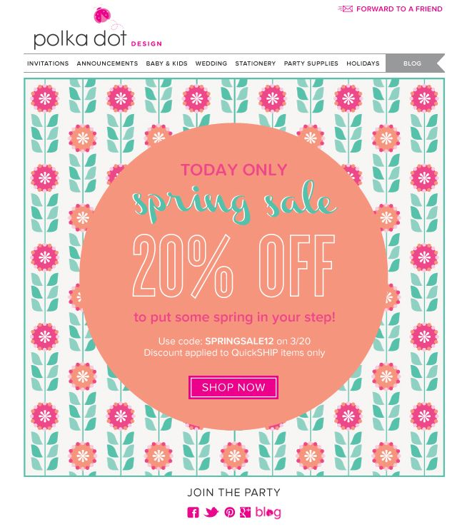 Polka Dot Design Spring Sale Email Blast   Meredith Mahoney Design
