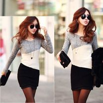 This dress is in fashion Korean style with trendy color block stitching design, slim package hip hem, pullover round collar and long sleeves. It is soft and comfortable to wear. It can show your personality perfectly. It is a perfect option for you, act now.  Features: * Color block stitching ...