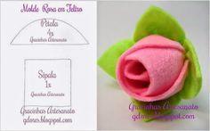 ARTE COM QUIANE - Paps,Moldes,E.V.A,Feltro,Costuras,Fofuchas 3D: Molde Rosa de feltro fácil de fazer