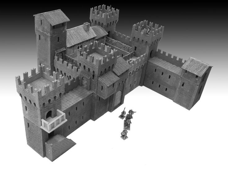 Manor with walls and tower 01