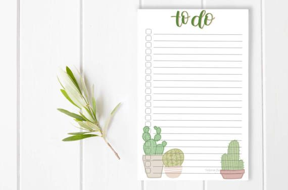 Notes Cactus Girl Boss Get it Mom Stationary / Hand Lettered Notepad / Custom Notepad / To Do List / Checklist / Stationery / Small Business