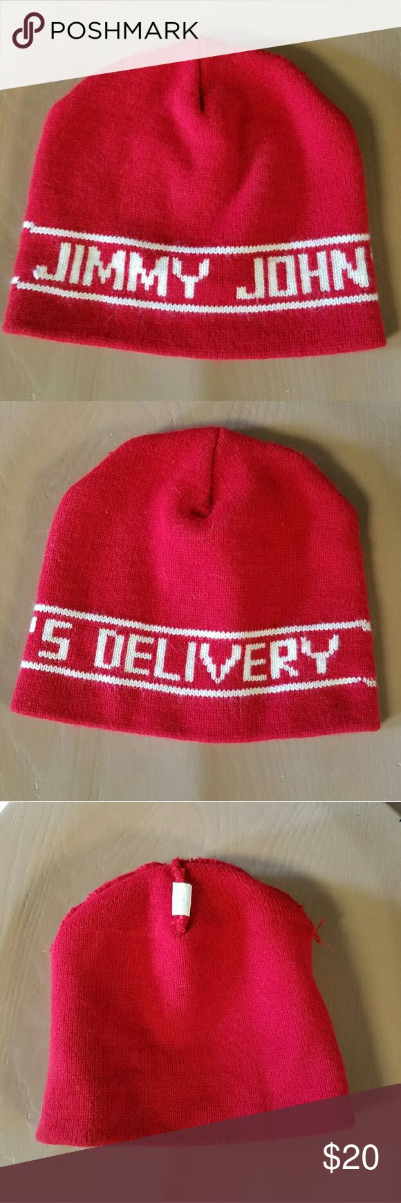 Red Jimmy John's Delivery Beanie Hat One Size This red Beanie Hat says Jimmy John's Delivery around middle.  It's in excellent condition with no rips, stains or repairs.  Very minimal wear.  Perfect for drivers or just because.  Hand wash cold.  One size fits most.  Made in the USA.  (bin4) WK Made in USA  Accessories Hats