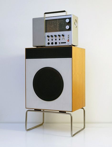 Braun L2 loudspeaker (1958) with Braun T 1000 world receiver (1963).