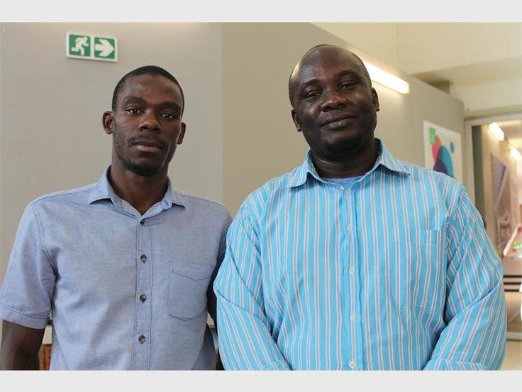 Founder of Ambassadors 4 Change Gathel Moyo and project co-ordinator Edward Obita.