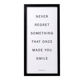 """Bloomingville Bilderrahmen """"Never regret.."""" - Ein Favorit von Bloomingville: Bereue nichts, was Dich einmal zum Lächeln gebracht hat! In schwarz mit originellem Schriftzug wird der Bilderrahmen schnell zum Mittelpunkt der Wand."""