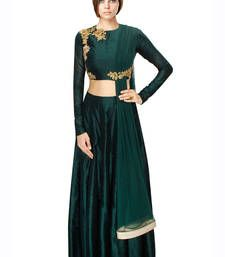 Buy Green Hand Embroidered Silk Designer Lehenga with Blouse lehenga-choli online
