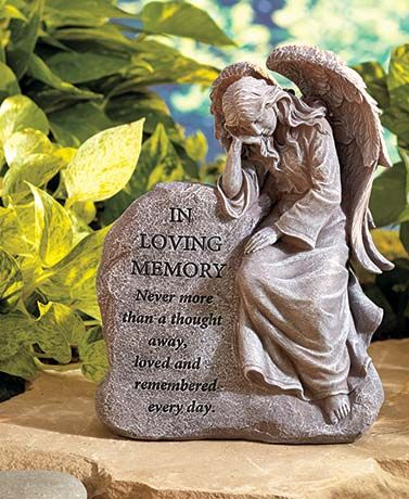 This Memorial Garden Angel is a touching tribute to a friend or family member. Whether you place this angel in your own garden or at the gravesite, it will always remind you of the moments you shared. Its sentimental message adds a personal touch, making