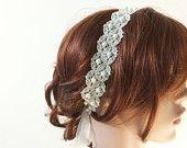 Pizzo fascia, Pearl Hairband di pizzo ricamato, capelli da sposa, damigella d'onore copricapo, perline, ReddApple capelli accessorio