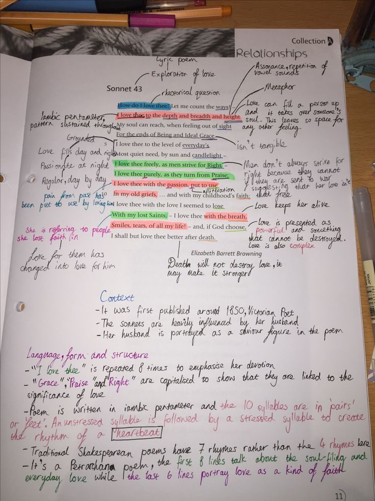 Annotation Of The Poem Sonnet 43 For The English
