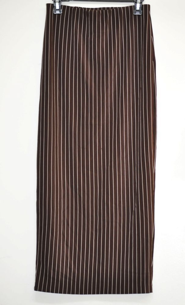 Women Maxi Skirt by Spice Clothing Vertical Striped Open Back Brown Beige 10 NWT #SpiceClothing #Maxi