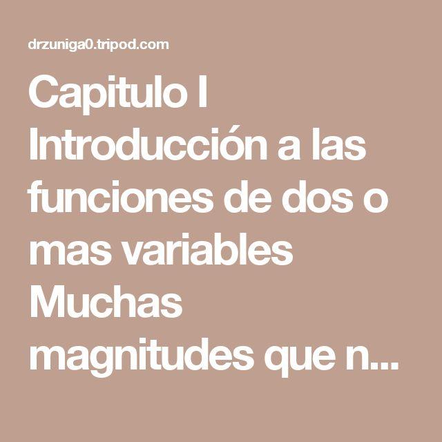 Capitulo I  Introducción a las funciones de dos o mas variables  Muchas magnitudes que nos son familiares son funciones de dos o más variables independientes. Por ejemplo, el área A de un rectángulo (A=xy)  y el volumen V de un cilindro circular recto son ambas funciones de dos variables. Denotaremos una función de dos variables por una notación similar a la de las funciones de una sola variable. Así,    Definición 1.1  Sea D un conjunto de pares ordenados de números reales. Si a cada par…