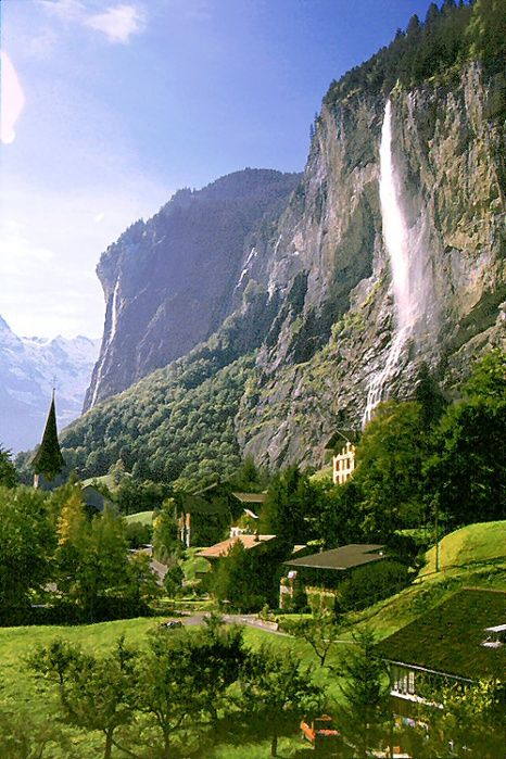 Waterfall Village, Lauterbrunnen, Switzerland.