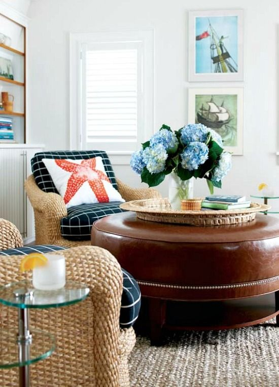 Nantucket Cottage Living Room with Generous Woven Chairs and Large round Ottoman: http://beachblissliving.com/cottage-living-nantucket/