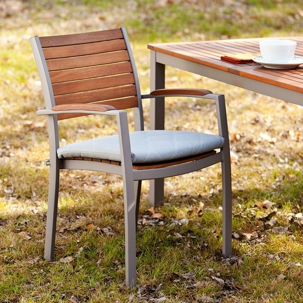 Medina Contemporary Outdoor Dining Chair | Grey Removable Cushion | Wood Patio Dining Set | Eurway.com