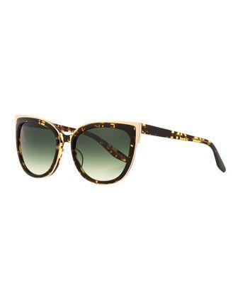 "Barton Perreira ""Winette"" cat-eye sunglasses in acetate with Zyl titanium detailing. Lens/bridge/temple (in mm): 56-18-143. Gradient square lenses. Transparent arms and temples. 100% UVA/UVB protectio"