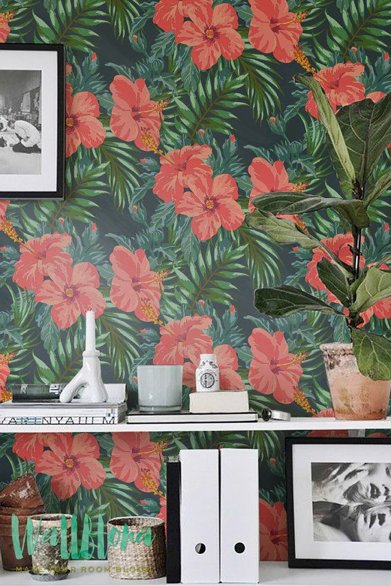 Hibiscus Wallpaper - Removable Wallpaper - Tropical Wallpaper - Hibiscus Wall Sticker - Tropical Wall Decal - Hibiscus Adhesive Wallpaper