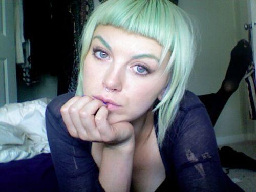 Pastel green hair, manic panic bad boy blue and electric lizard