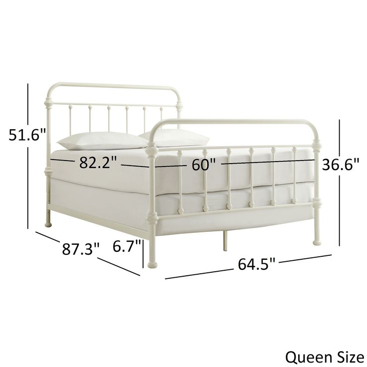 Giselle Antique White Graceful Lines Victorian Iron Metal Bed by Tribecca Home (Giselle Queen Size Metal Bed)