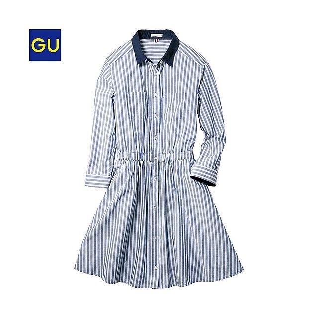 GU(GU)シャツワンピース(ストライプ・7分袖) - GU ジーユー
