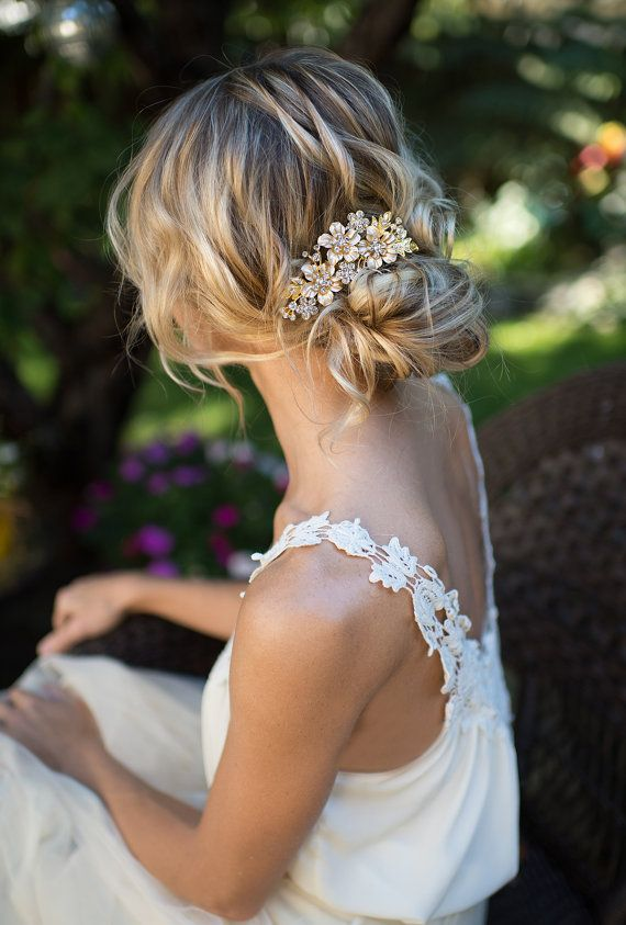 Vintage Style Flower Bridal Haircomb Gold by LottieDaDesigns