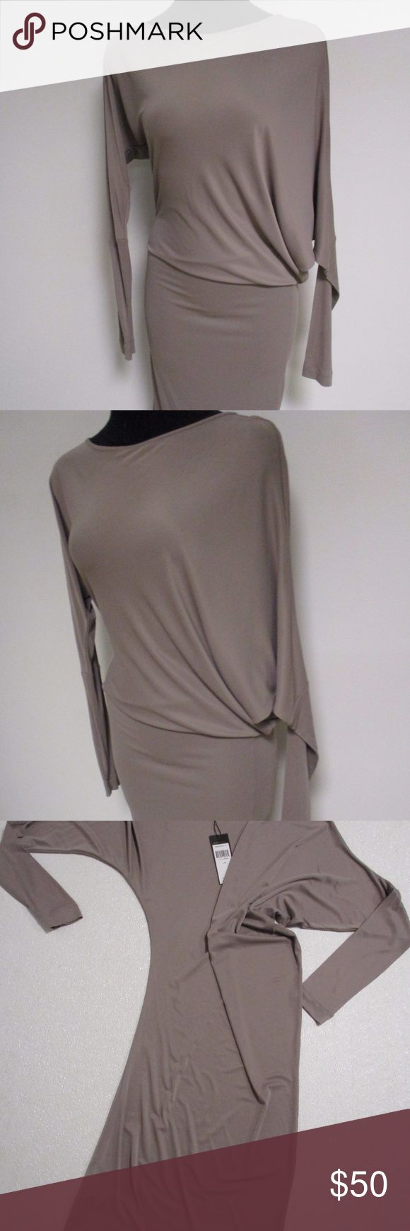 """BCBG Maxazria Stretch Bodycon Dress Medium NWT Brand new dress from BCBG Maxazria  Size medium  Not sure what this style is called, but sleeve and dress blend in together and fits snug across the body  Color is Cinder  Machine washable acetate/spandex  Very flattering dress  New with tag attached  Retail price $108  Bust- 19.5"""" laid flat Waist- 31"""" Hips- 40"""" Length- 43"""" BCBGMaxAzria Dresses"""