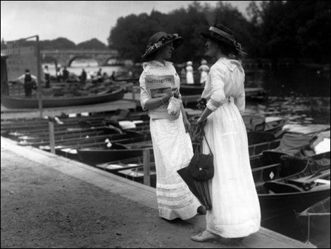 1913: Two suffragettes selling 'The Suffragette' at the Henley Regatta.