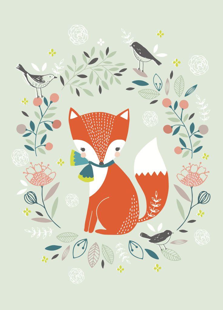 Een parmantige vos op een zacht groene ondergrond, geillustreerd door Flora Waycott. De poster is gedrukt op 250 grams papier.