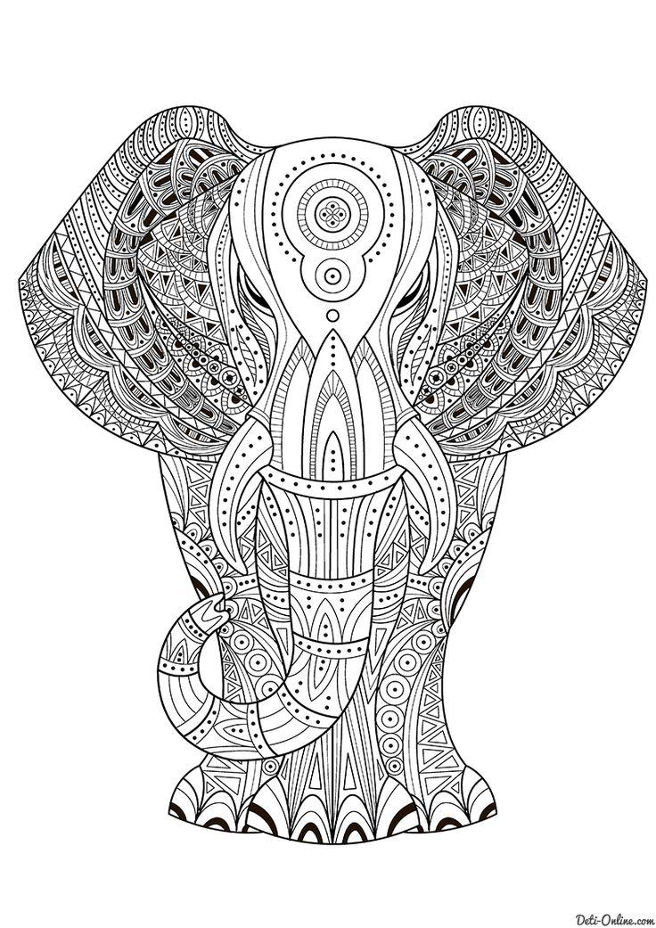 Раскраска Индийский слон