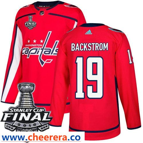 Washington Capitals  19 Nicklas Backstrom Red Stitched Adidas NHL Home  Men s Jersey with 2018 Stanley Cup Final Patch 8559c8bfb6f8