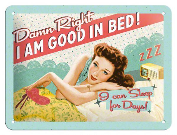 Placa metalica decorativa 15 x 20 cm Good in bed
