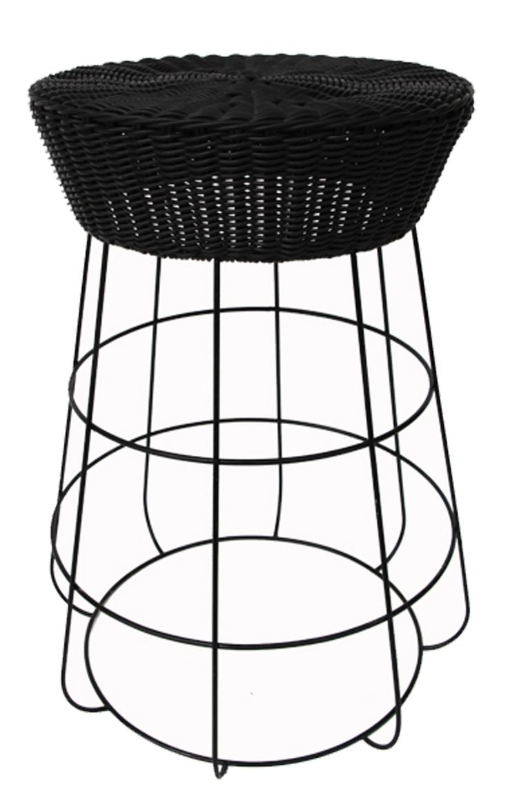 NEW IN: Circular rattan and wire stools in BLACK - waterproof with waterproof cushions. From $140RRP AUD.  http://www.philbee.com.au/decor/black-hour-glass-iron-chair-with-cushion.html