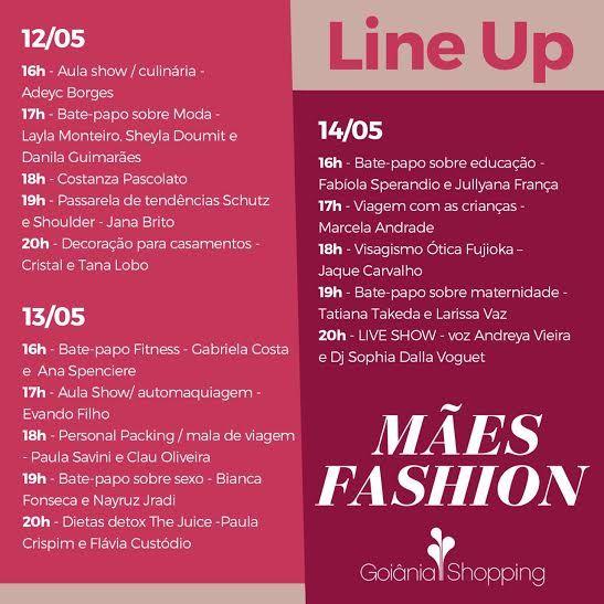 O Mães Fashion será realizado de quinta (12) a sábado (14) no Goiânia. A programação vai reunir moda, beleza, lifestyle, desfiles e encontros com especialistas. Acesse o site www.arrozdefyesta.net e saiba como participar.
