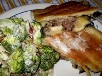 left over meatloaf sandwiches and broccoli salad