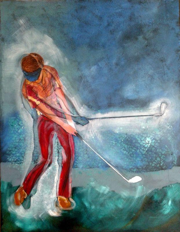 Bijna klaar! Mijn serie golfschilderijen; het is echt hard werken want het moet niet alleen creatief mooi zijn, maar ook de golftechniek moet in orde zijn!