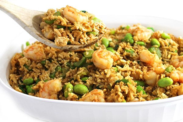 (NEW recipe) Shrimp Fried Rice Made Skinny. What a wonderfully healthy version of shrimp fried rice. Quick, easy and extremely delicious. Each serving has 275 calories, 8g fat & 7 Weight Watchers POINTS PLUS. http://www.skinnykitchen.com/recipes/shrimp-fried-rice-made-skinny/