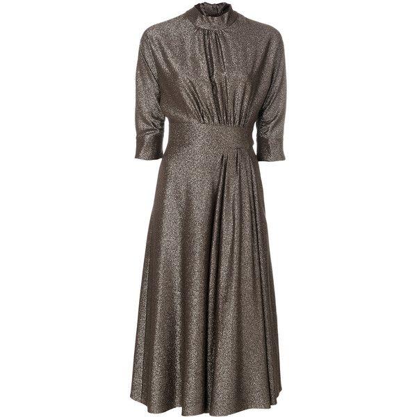 Prada high collar dress ($2,490) ❤ liked on Polyvore featuring dresses, brown, prada dresses, brown dress, high collar dress and prada