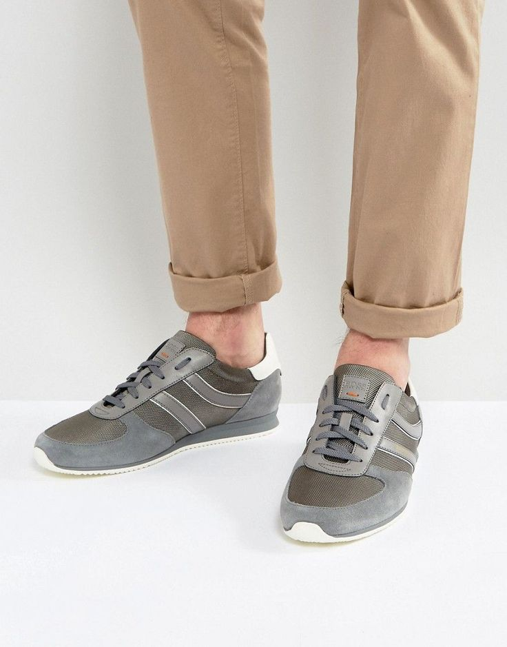 BOSS ORANGE BY HUGO BOSS ORLAND NYLON AND SUEDE SNEAKERS IN GRAY - GRAY. #bossorange #shoes #