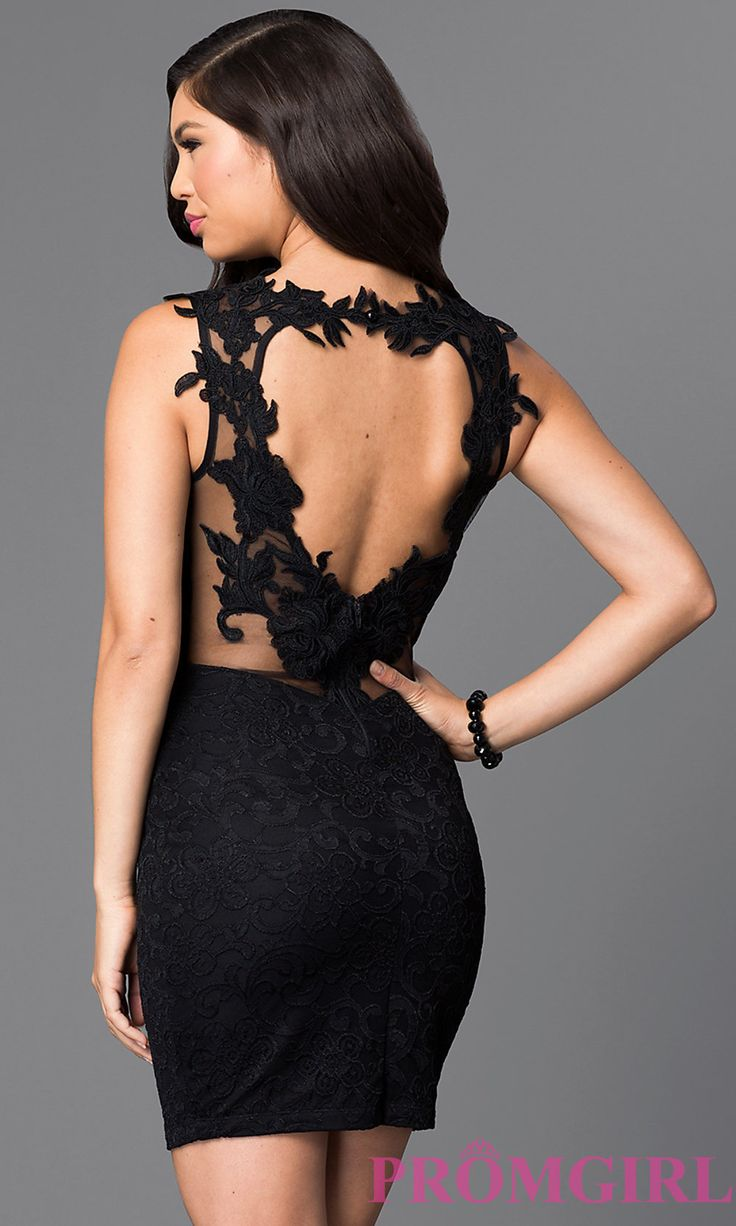 Short little black party dress with back cut outs - Heart Shaped Open Back Cut Out Short Black Dress