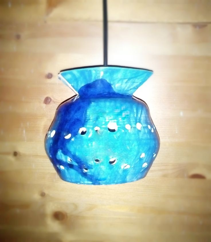 #handmade ceramic #lamps #bright blue #hanging lamp # clay white