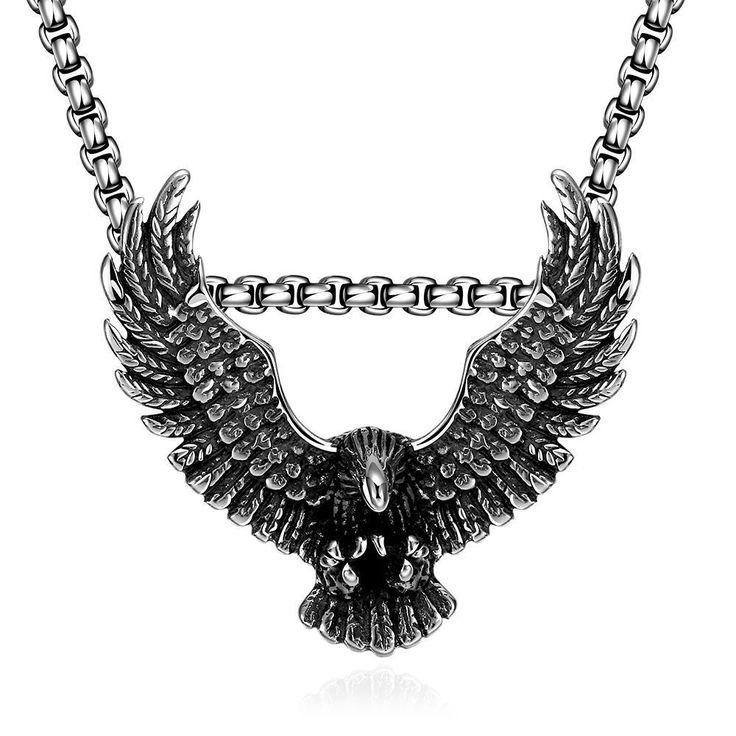 Flying Hawk Emblem Necklace, Men's