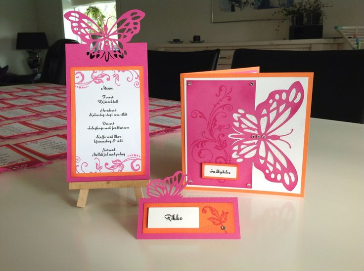 Inbydelse, menukort og bordkort til konfirmation