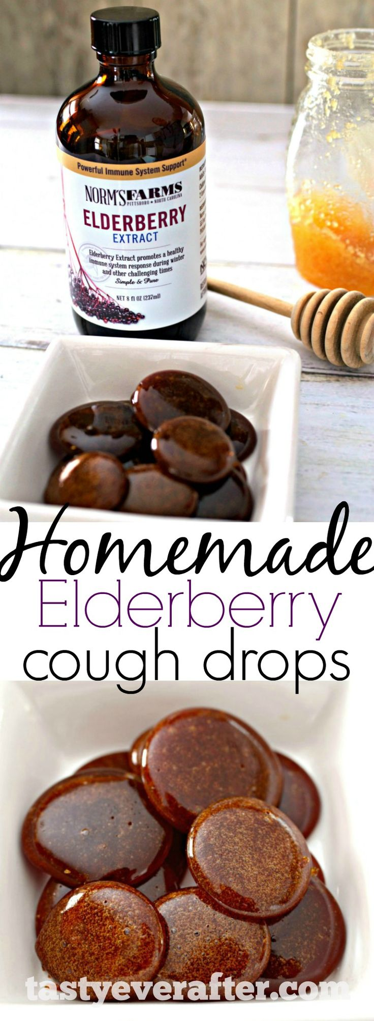 Homemade immune boosting, all-natural cough drops made with just 3 ingredients and in less than 20 minutes! Made with @normsfarms Elderberry Extract.