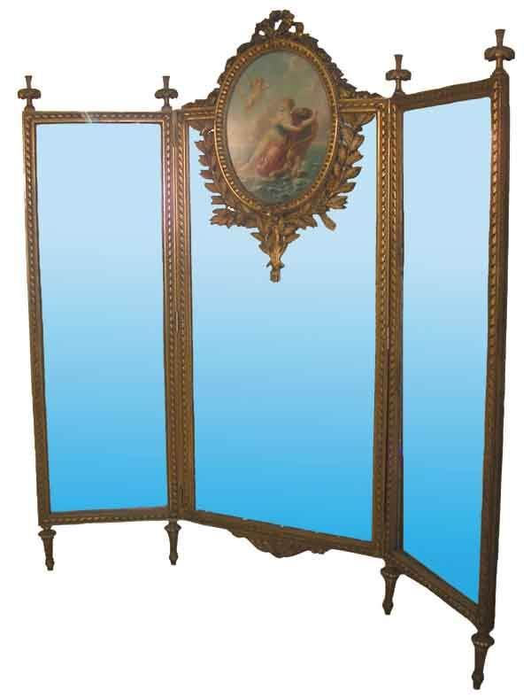 museum quality carved gilt wood 3 part dressing screen mirror with beautiful painting of woman