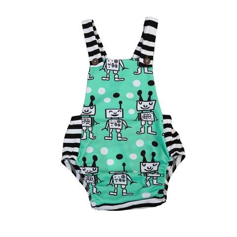 a0a6db5ce3b1 Cotton Newborn Kid Baby Boy Girl Romper Robot striped Romper Jumpsuit  Clothes Sunsuit Outfit
