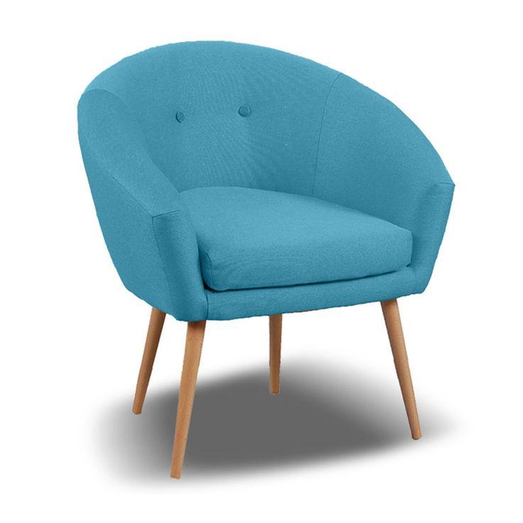 fauteuil aventy en tissu coloris bleu ciel - Fauteuil Bleu Canard Pas Cher